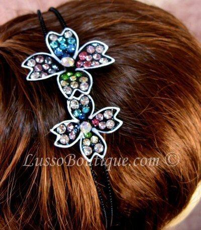 "Austrian Crystal Headband Hairband ""Chloe"" Multi Color free organza bag"