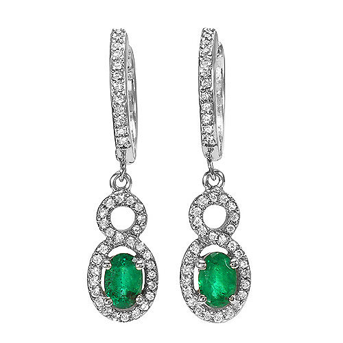 1.0 ct Natural Emerald and Diamond Earrings set in 14k solid gold