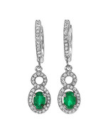 1.0 ct Natural Emerald and Diamond Earrings set in 14k solid gold - $1,975.00