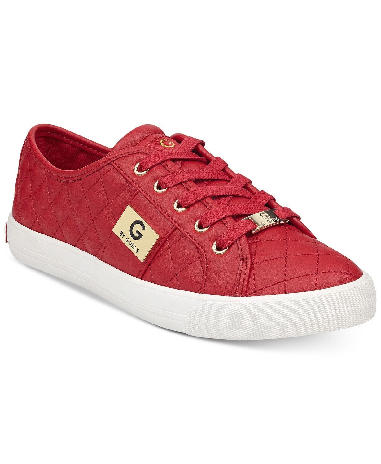 7828c9c86f7 G by Guess Women s Backer2 Lace Up Leather Quilted Pattern Sneakers ...