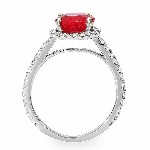 Estate ring 2.5 ct natural ruby and diamond 14k gold