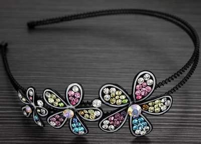 "Austrian Crystal Headband Hairband ""Ella"" Multi Color free organza bag"