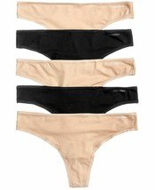 Calvin Klein 5-Pack Black Nude Soft Stretch Thongs QD3652-952 Small NEW