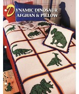 Dynamic Dinosaur Afghan & Pillow Crochet Pattern Annies Attic Cynthia Harris - $13.99