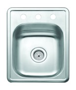 Aspen 17W X 22L X 8D Single Bowl Topmount 3-Hole Stainless Bar/Utility Sink - $195.95