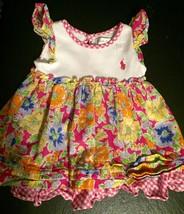 Polo Ralph Lauren Spring Floral Pink Gingham Trim Infant Dress Size 3 Month - $19.79