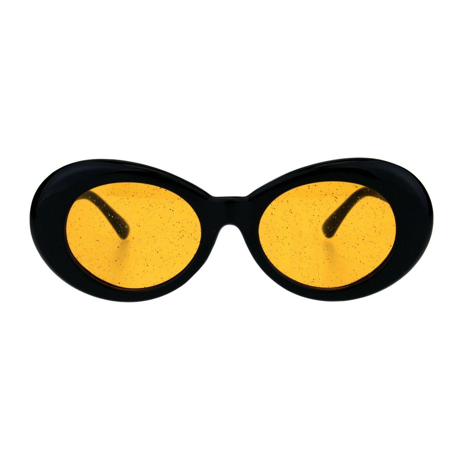 70's Fashion Sunglasses Womens Vintage Oval Frame Glitter Lens