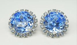Vintage Pale Blue Rhinestone Headlight ST Earrings - $10.00