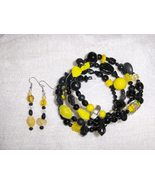 Black and Yellow Glass and Ceramic Bead Gypsy Bracelet and Earring Set - $8.00