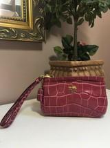 Coach Wristlet Madison Bag Magenta Pink Croc Embossed Leather 46630 W16 - $34.64
