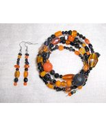 Halloween Glass and Ceramic Bead Gypsy Bracelet and Earring Set Orange a... - $8.00