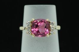 "Custom, 14K Yellow Gold, 2ct+/- Pink Tourmaline and Diamond Ring (Size ""6"") - $535.00"