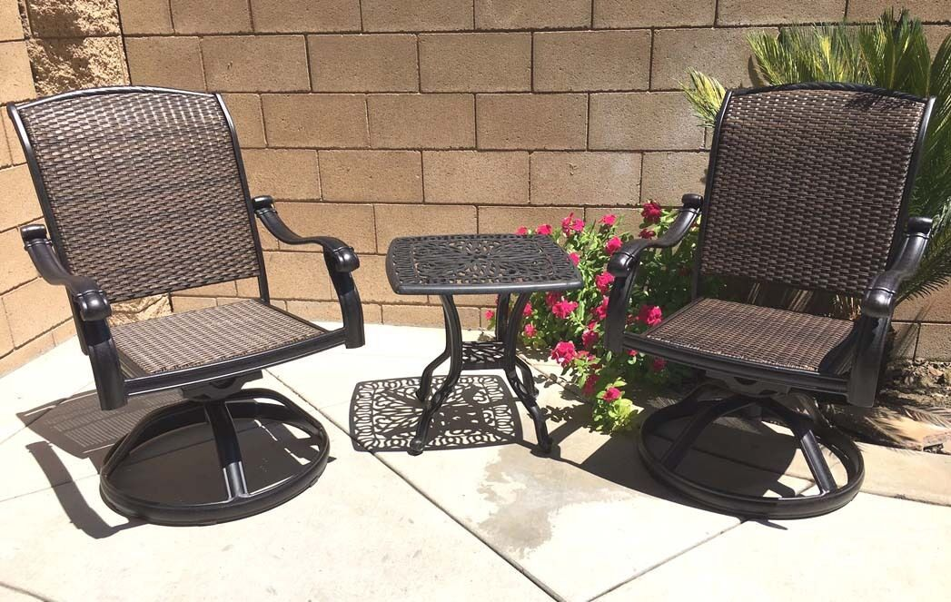Outdoor bistro set 3 piece patio cast aluminum swivel rocker chairs end table.