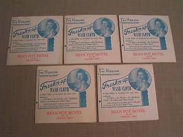 5 1940'S Vintage Bean Pot Motel US 20 Fremont Ohio Fresh'n-up Paper Wash... - $7.69