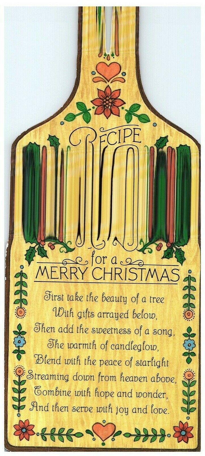 Recipe for a Merry Christmas Bottle-shaped Christmas Card Hallmark 1980  - $8.86