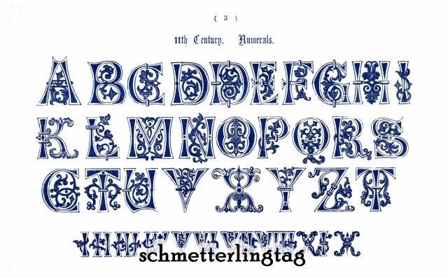 1858 Victorian Alphabet Book Ancient Initials Monograms Reenactment Calligraphy