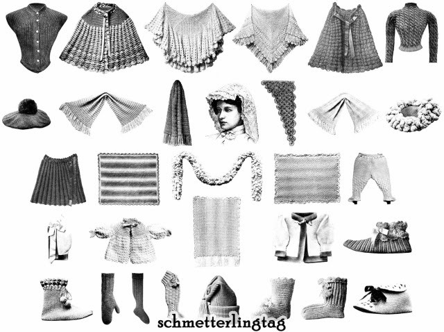 1902 Shawl Pattern Book Knit Crochet Gibson Girl Shawls Capes Reenactor Garb DIY