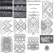 1906 Edwardian Pillow Lace Book Patterns Bobbin Laces Pattern Lacemaking Designs - $9.99