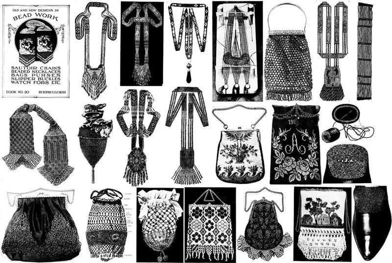 1910 Edwardian Gibson Girls Era Beaded Purse Book LA CROIX Purses Bags Handbags