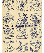 1930s Depression Era Embroidery Transfers Bunny Rabbit Cottontail Quilt ... - $4.99