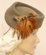 Vtg 40s Hat  Tilt WWII Asymetrical Pill Box Striking  Rhinestoned Feathe... - $95.00