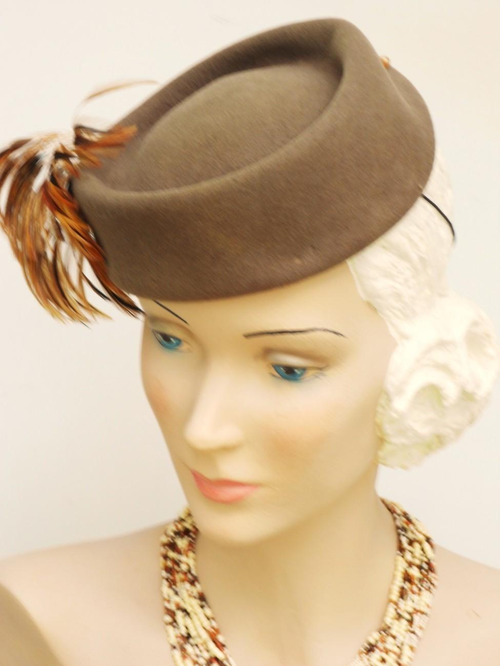 Vtg 40s Hat  Tilt WWII Asymetrical Pill Box Striking  Rhinestoned Feather Spray