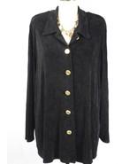 STEPHANIE THOMAS SPORT Slinky Button Long Sleeve Shirt Top Blouse Plus S... - $15.88