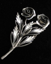 Vintage Pretty Signed Spain Rose Flowers Silver Toned Figural Brooch Pin... - $12.82