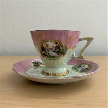 Vintage Lefton China Gold Trimmed Tea Cup & Saucer Hand Painted Pattern 110 - $29.21