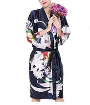 Retro Style Beauty Salon Flower Gown Robes Hairdressing Gown for Clients, Navy