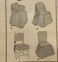 Vintage Vogue 2374 Chair Slip Covers Box Pleats Ruffles Piping Uncut Pattern FF image 2