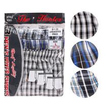 Men's Plaid Check Shorts Trunk Underwear Cotton Blend Button Boxers Size L