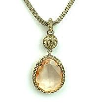 Vtg Monet Necklace Gold Tone Crystal Rhinestone Peach Faux Diamond Statement - $46.71