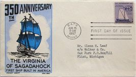 August 15, 1957 First Day of Issue, Ken Boll Cover, Shipbuilding 350th #20 - $1.78