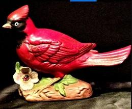 Vintage red cardinal bird handmade animal figurine AA19-1420 image 1