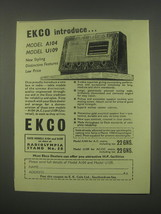 1949 Ekco Model A104 and U109 Radios Ad - $14.99