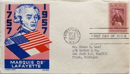 Sept. 6, 1957 First Day of Issue, Ken Boll Cover, 200th Birth of Lafayet... - $2.49