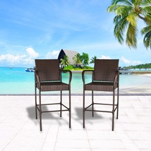 Set of 2 Outdoor Wicker Bar Stool Outdoor Patio Furniture Bar Chairs, Brown - $104.99