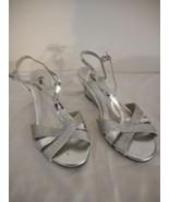 Fioni Silver Glittery Strappy Wedge Heel Size 6.5 Dressy shoe - $24.74