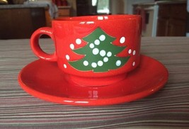 Vintage Waechtersbach Stackable Cup and Saucer Christmas Tree West Germany - $24.74