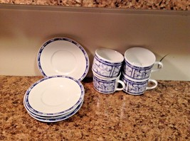 Oneida Breton Blue 1999 Cup & Saucer Set 4 cups 4 saucers Lovely - $11.22