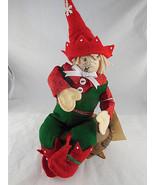 "Vntg Handcrafted by doll artist Christmas elf Folk Heart Twinkle 10"" Fel... - $19.79"