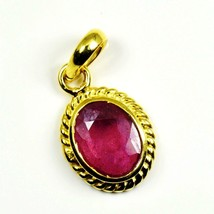 Shiny Ruby Gold Plated Pendant 7 Carat Jewelry Charm Necklace Red Gemstone - $37.92