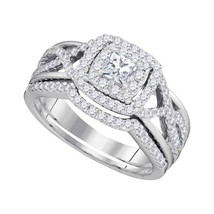 14kt White Gold Princess Diamond Bridal Wedding Engagement Ring Band Set 7/8 Ctw - $1,598.00