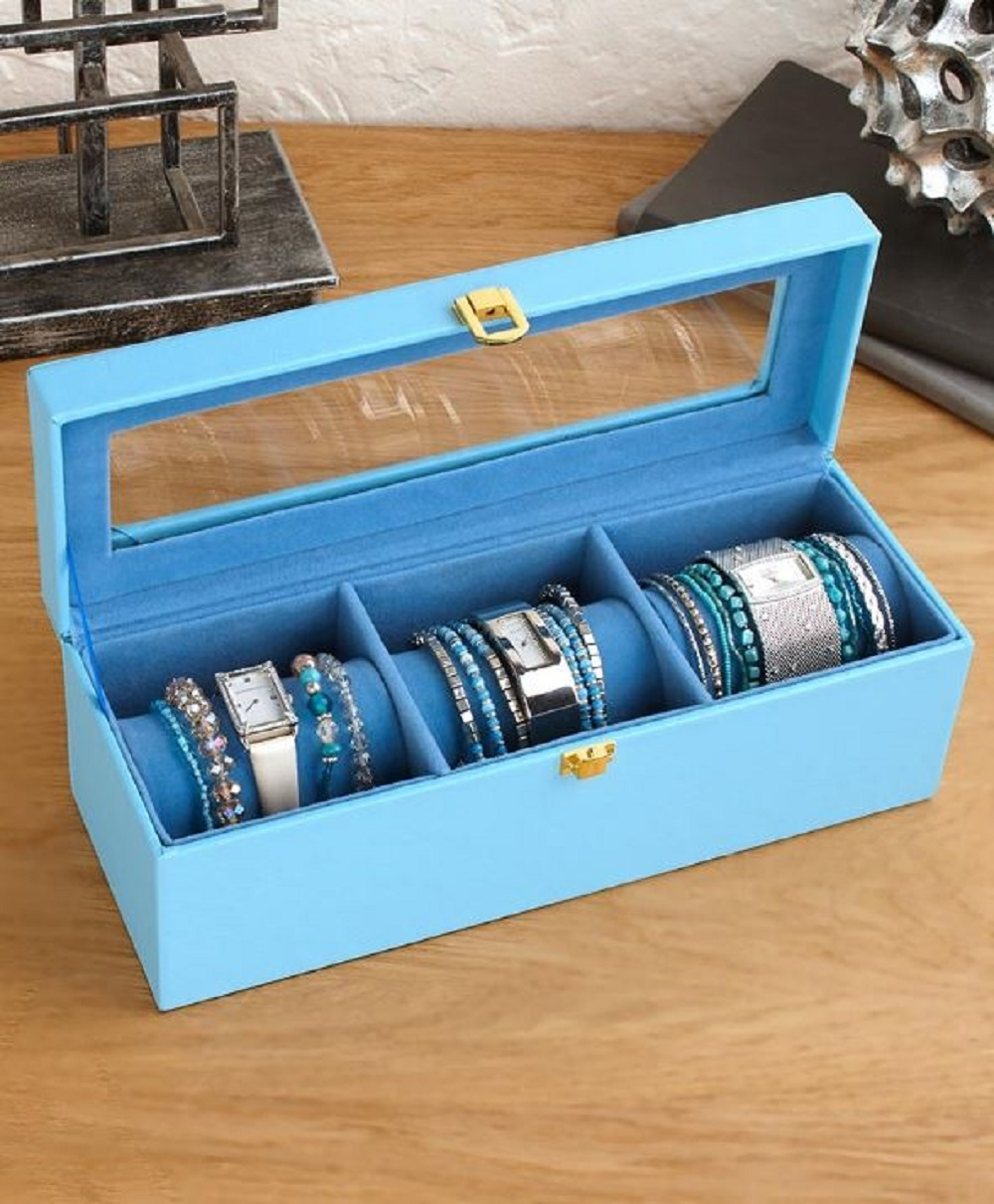 Watch Case Bracelet Organizer Travel Trade Show Glass Top Jewelry Display Box