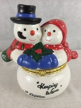 "Snowman Couple Trinket Box Hinged Lid 1st Ed. ""Keeping Warm"" Porcelain 1... - $11.94"