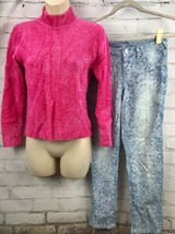 Justice Printed Jegging Jeans + Limited Too Fuzzy Sweater Outfit Set Pin... - $33.66
