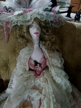 LOVELY BOUDOIR CLOTH  BED DOLL PINK DRESS WITH LOT OF  LACE NICE MATCHIN... - $34.65