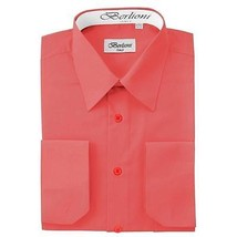 BERLIONI ITALY MEN'S PREMIUM FRENCH CONVERTIBLE CUFF SOLID DRESS SHIRT CORAL
