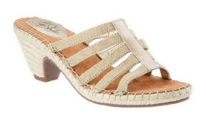 LifeStride Women's Multi-strap Espadrille Sandals, Route, Light Gold, Size 5.5 M